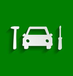 Car tire repair service sign paper vector