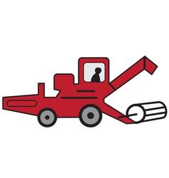 Cartoon red combine harvester vector image vector image
