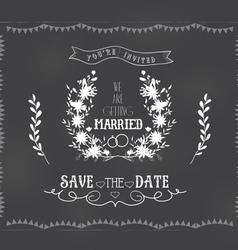 chalkboard wedding florals vintage set vector image vector image