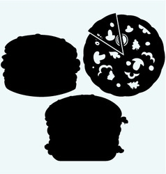 Circular cut pizza and hamburger vector image vector image