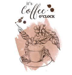 decorative coffee poster vintage engraved vector image