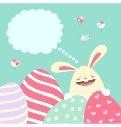 Easter bunny and easter eggs vector image vector image