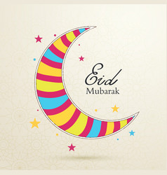 Eid mubarak concept with colorful moon on light vector