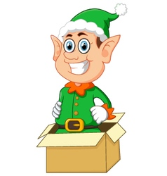 Elf coming out of gift box vector