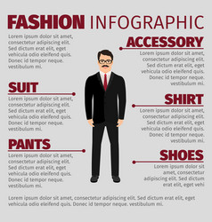 Fashion infographic with smiling man clerk vector