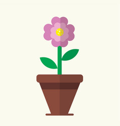 Flat cute pink flower bloom in brown pot vector