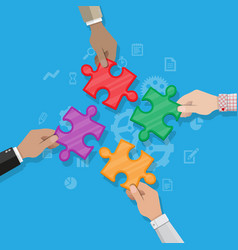 hands putting puzzle pieces together vector image