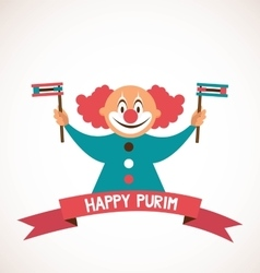 Happy purim jewish holiday clown holding vector