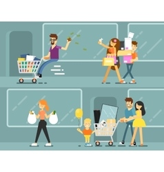 Happy shopping people with bags vector image