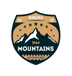Hiking adventures vintage isolated badge vector