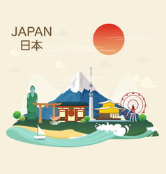 Japanese famous landmarks and tourist attractions vector