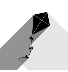 kite sign black icon with two flat gray vector image