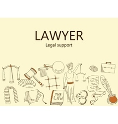 Lawyer legal support banner vector