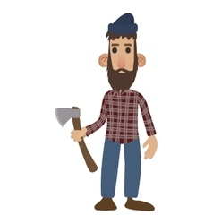 Lumberjack cartoon icon vector