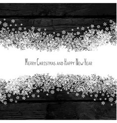 Merry christmas and happy new year snowflakes line vector