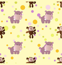 Pattern with cartoon cute baby behemoth and monkey vector