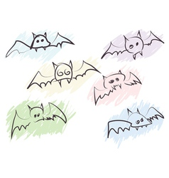 quick handdrawn bats vector image vector image