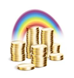 Rainbow over money vector image