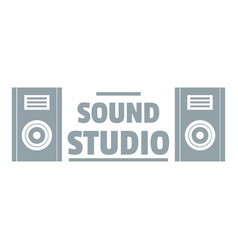 Record sound studio logo simple gray style vector
