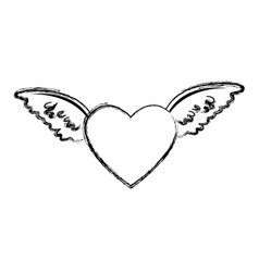 red heart with angel wings decorated feather vector image