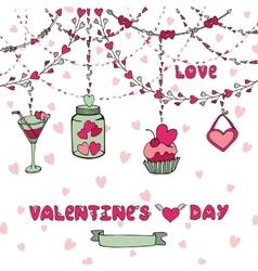 Romantic cardheart garlandsletteringdecor vector