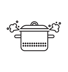 saucepan with a steam clowd vector image vector image