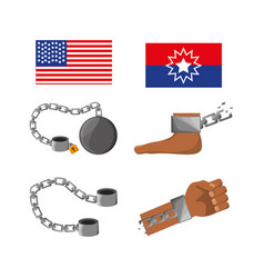 set of flags chains foot and hand to celebrate vector image