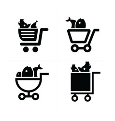 Shopping cart icons and food vector