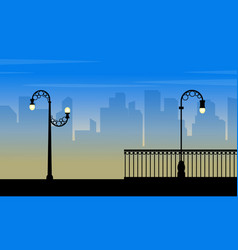 Silhouette of city with street lamp beauty vector