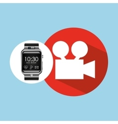 Smart watch on hand- film movie camera vector