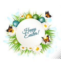 Spring Easter background Easter eggs in grass with vector image