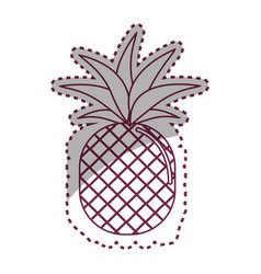 Sticker silhouette pineapple fruit icon stock vector