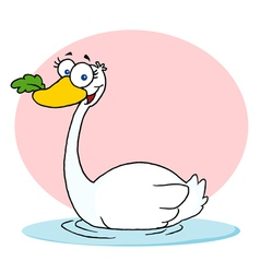 Swan With Leaf In Beak vector image vector image