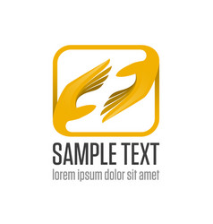 two hand logo vector image