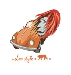 Wild lion retro car driver vector image