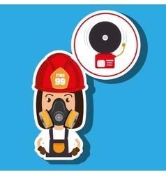 Woman fire alarm vector