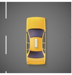 Yellow car taxi top view vector
