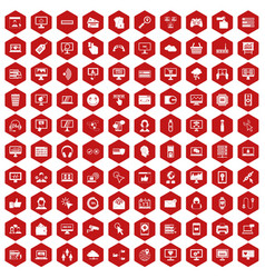 100 internet icons hexagon red vector image vector image
