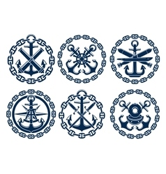 Marine and nautical emblems icons vector