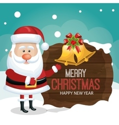 Santa greeting on wooden card merry christmas vector