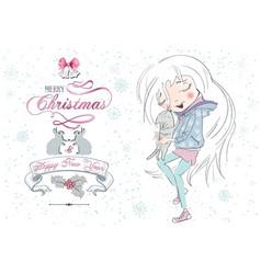 Little girl Christmas cat vector image