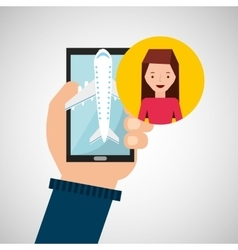 Girl brunette hand holds mobile application travel vector