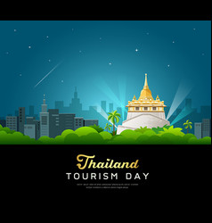 Thailand tourist landmarks worshipers on important vector