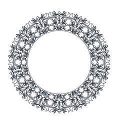 Round decorative frame flourish calligraphy vector