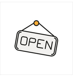 Open hanging door plate simple icon on white vector