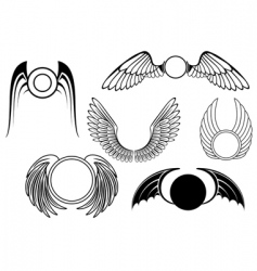 Set of wing symbols vector