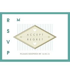 Rsvp wedding card green ribbon theme vector