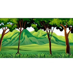 Trees and mountains vector