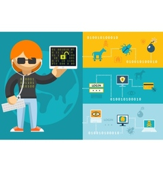 Computer hacker and accessories icons vector