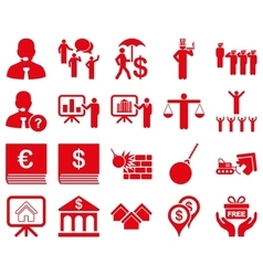 Bank service and people occupation icon set vector